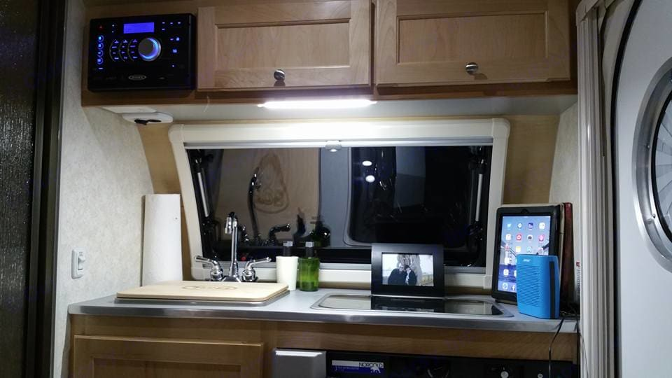 Interior.  Front.  Sink, Fridge below to right and 2 burner stovetop.  . Little Guy TAB S MAX 2016