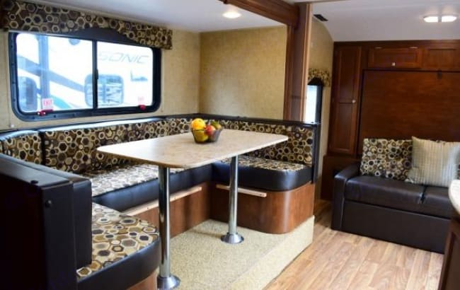 U shaped dinette - perfect for food and fun together. Venture Rv Sonic 2016