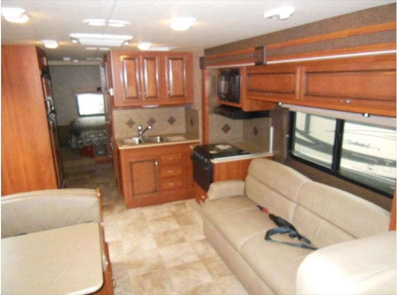 Lounge area view from front of coach.. Fleetwood Terra 2014