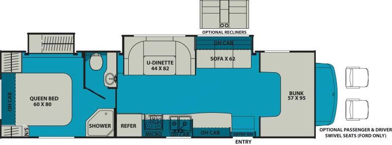 Floor Plan Photo. We have the recliner package.. Coachmen Leprechaun 2016