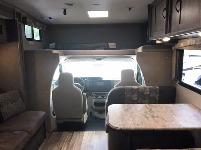 Couch folds out and table can become bed as well. Coachmen Freelander 2017