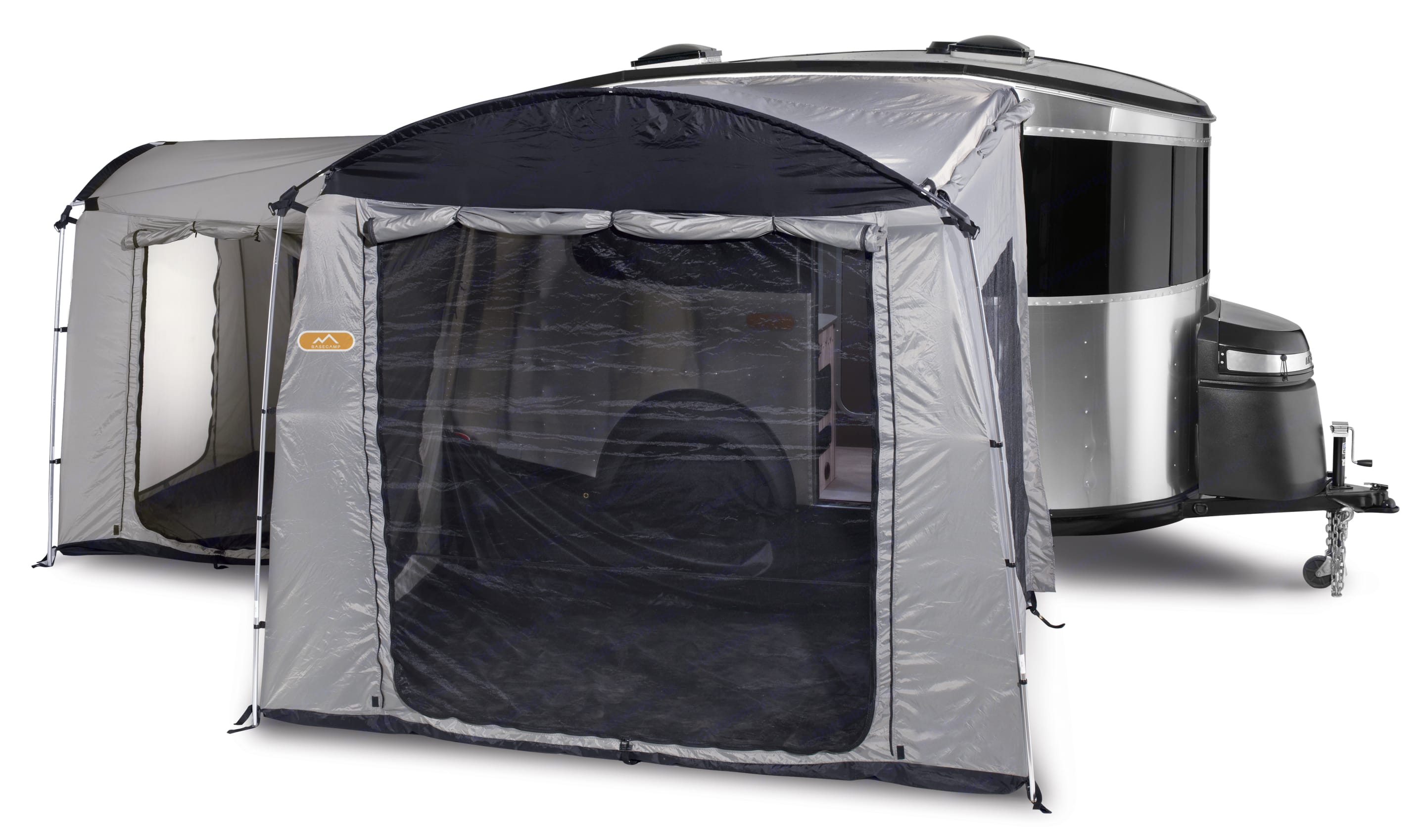 Exterior front and back tents . Airstream Base Camp 2017