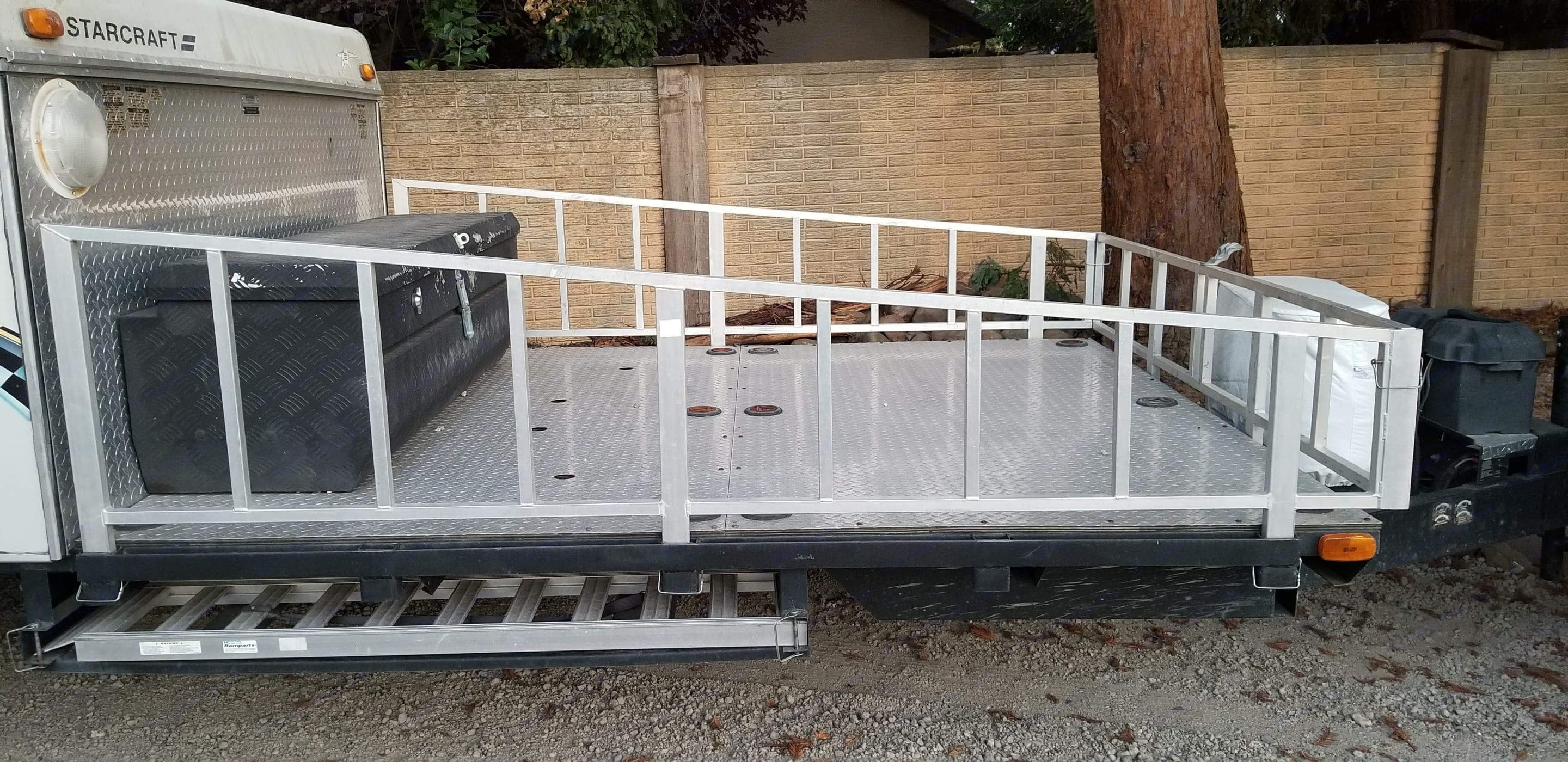 Large loading area with ramp for ATVs, dirtbikes, etc.. Starcraft 36RT 2008