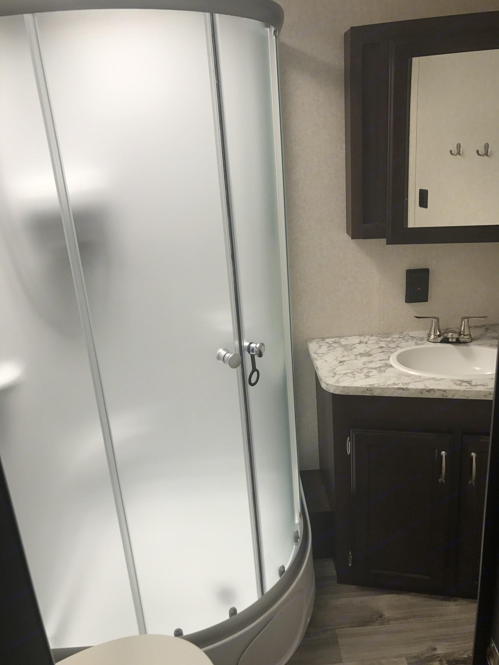 Bathroom with standup shower. Jayco Jay Flight 2018