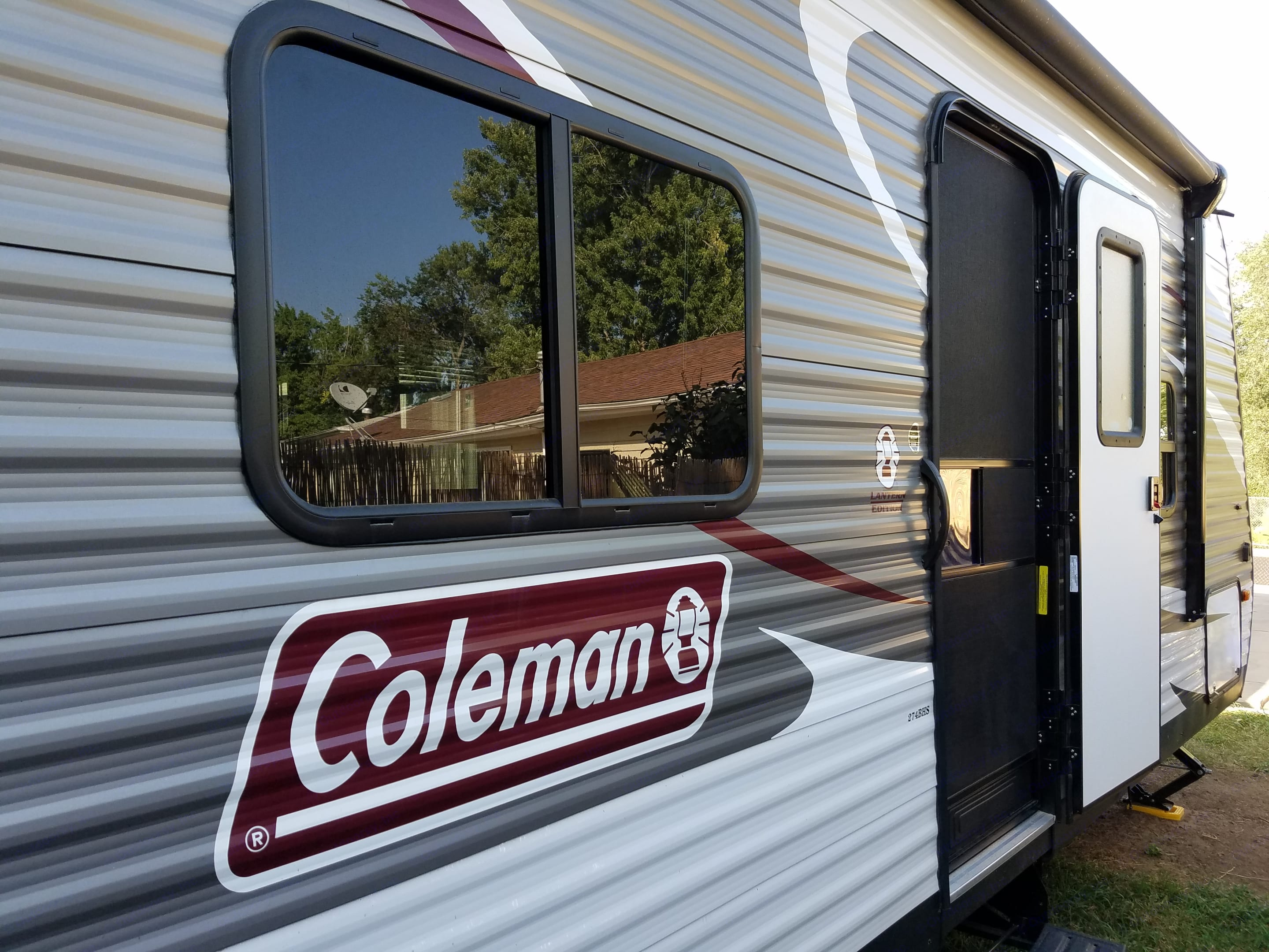 Entrance features screen door with side to lock and fold out stairs.. Coleman Other 2018