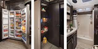 Fridge, pantry and master bathroom. Jayco Seismic 2016