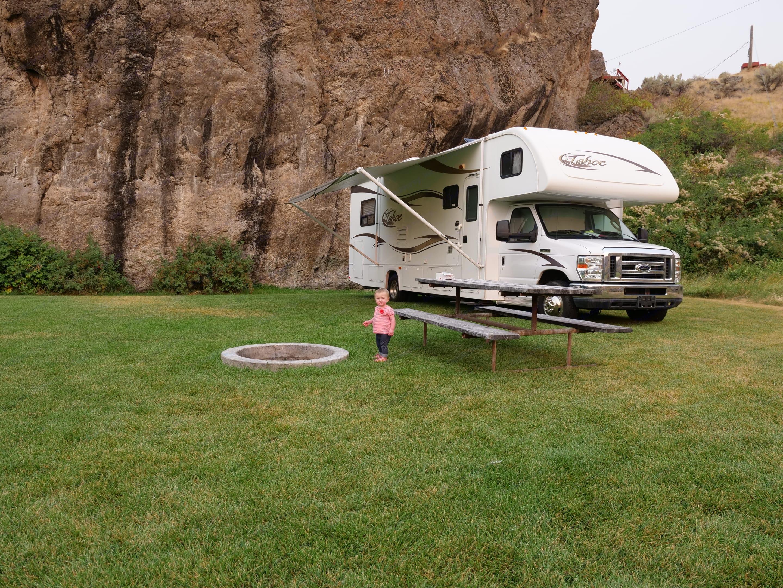 Next to Heise Rock in Eastern Idaho. Thor Motor Coach Tahoe 2012