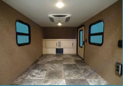 Roomy interior for two people to sleep comfortably with terrific storage. Two sliding windows and overhead vent for air flow. USB charging and if you're hooked up to shore power you can plug in! Bright LED lights! Excellent door locks so you can feel safe and secure.. Intech XLT Flyer 2017