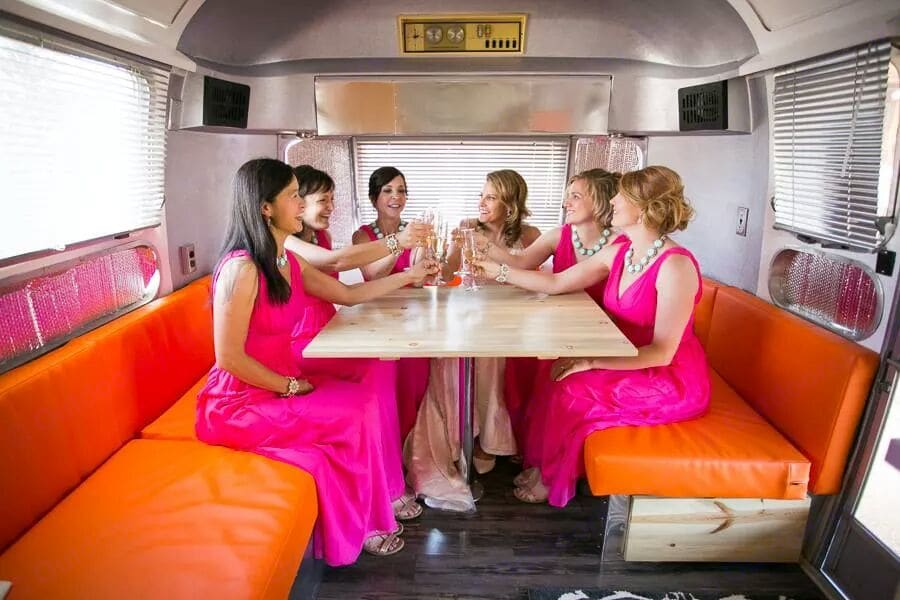 Shiny Penny makes a great mobile bridesmaids' lounge!. Airstream Land Yacht 1970