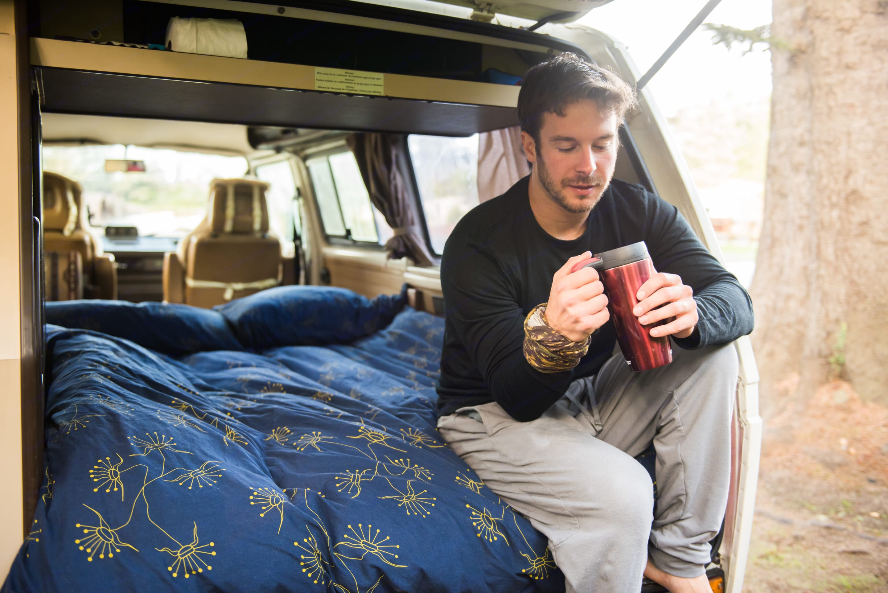 There is nothing like waking up to great coffee and no agenda.  . Volkswagen Vanagon Weekender 1986