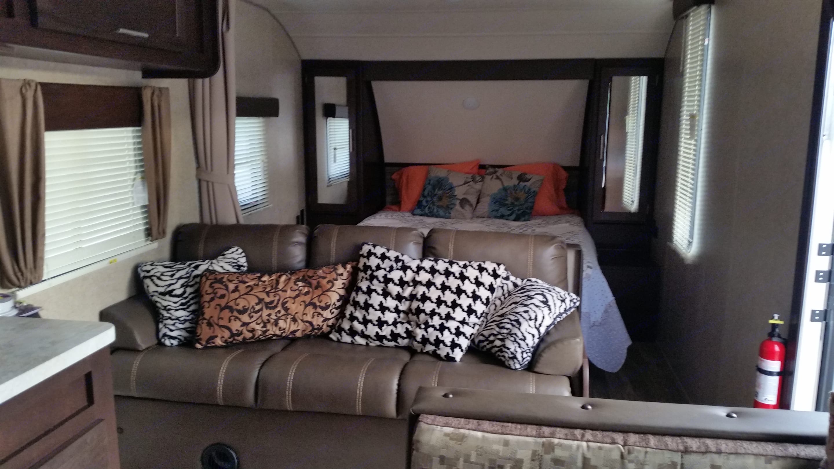 Queen bed and sofa will also make a queen bed. Forest River Cherokee Grey Wolf 2018