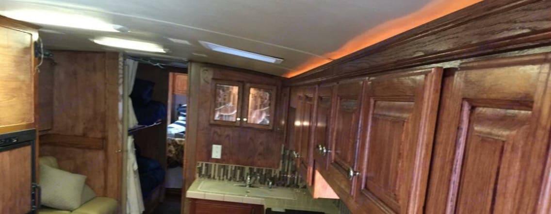 Kitchen, bunk & hall view. Airstream Land Yacht 2009