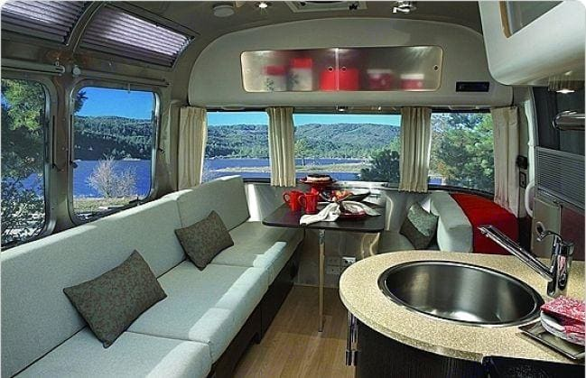 Breath taking views from the panoramic windows that you only find in an Airstream. Gorgeous crepe leather interior and Expresso cabinets.. Airstream International 2014