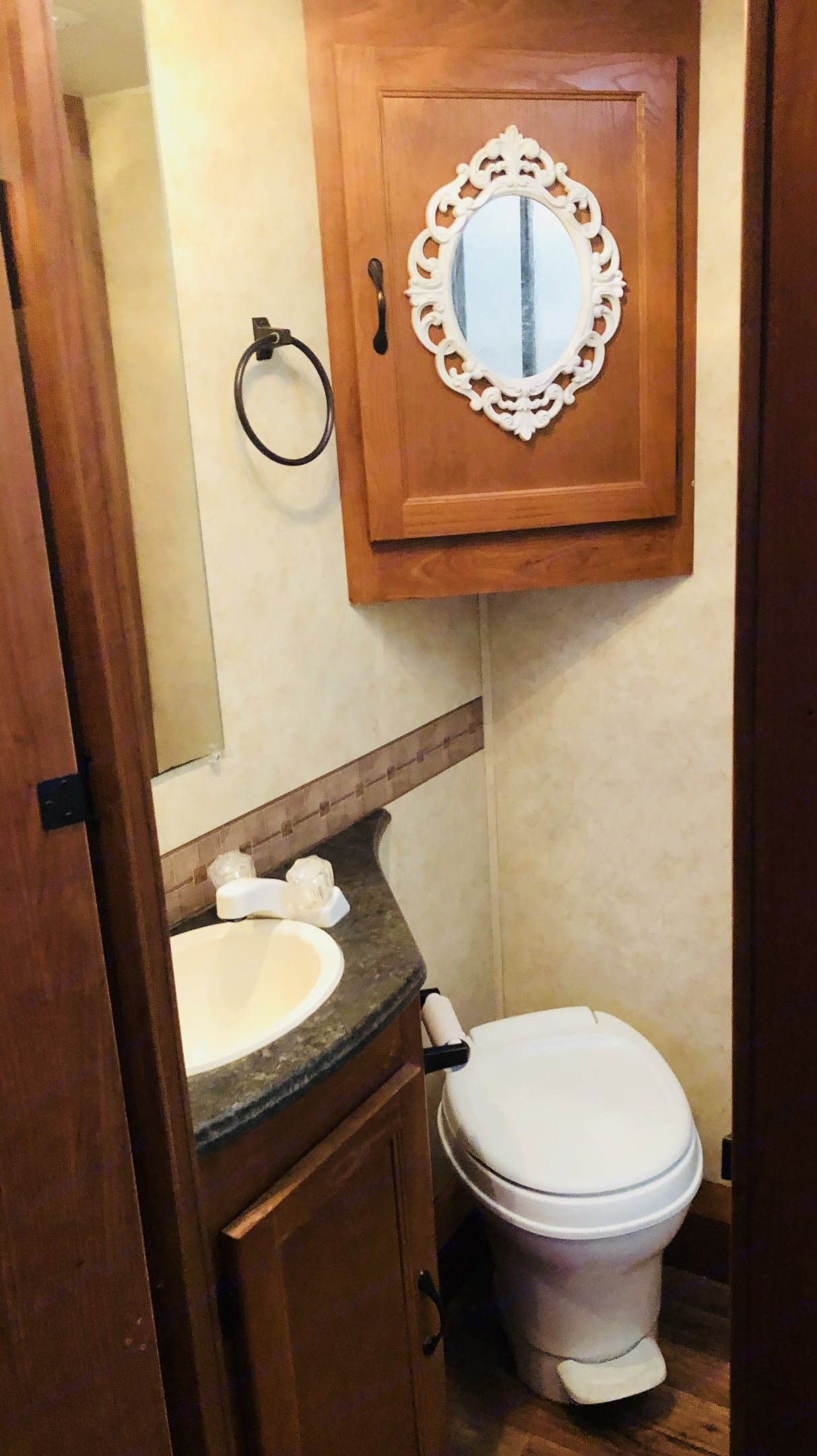 Bathroom with full shower and great hot water! . Coachmen Freelander 2012