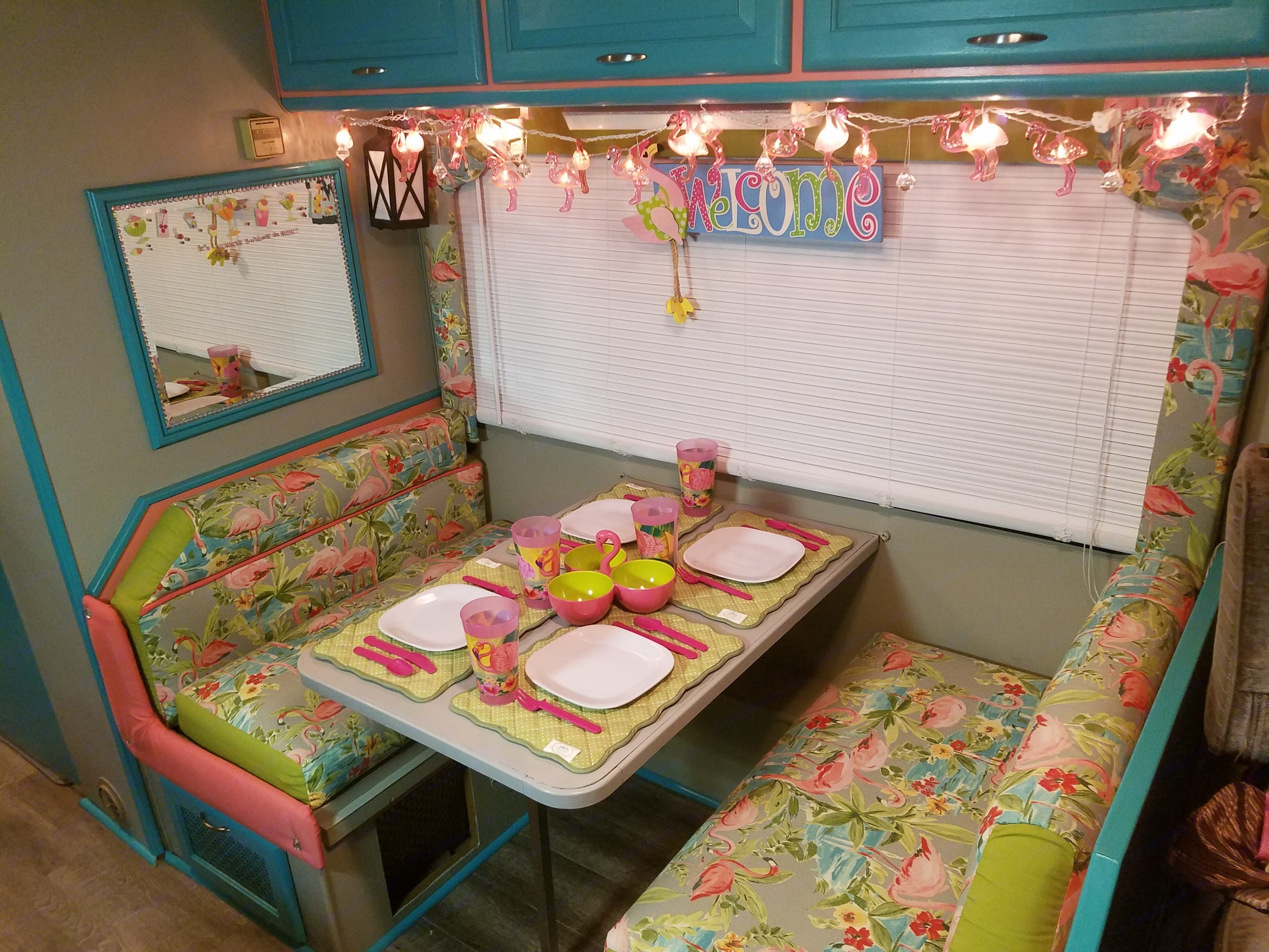 Dining area - table folds down to create 2nd sleeping area for two. Thor Motor Coach Pinnacle 1992