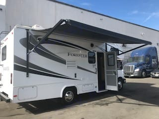 Electric Awning Extended. Forest River Forester 2017