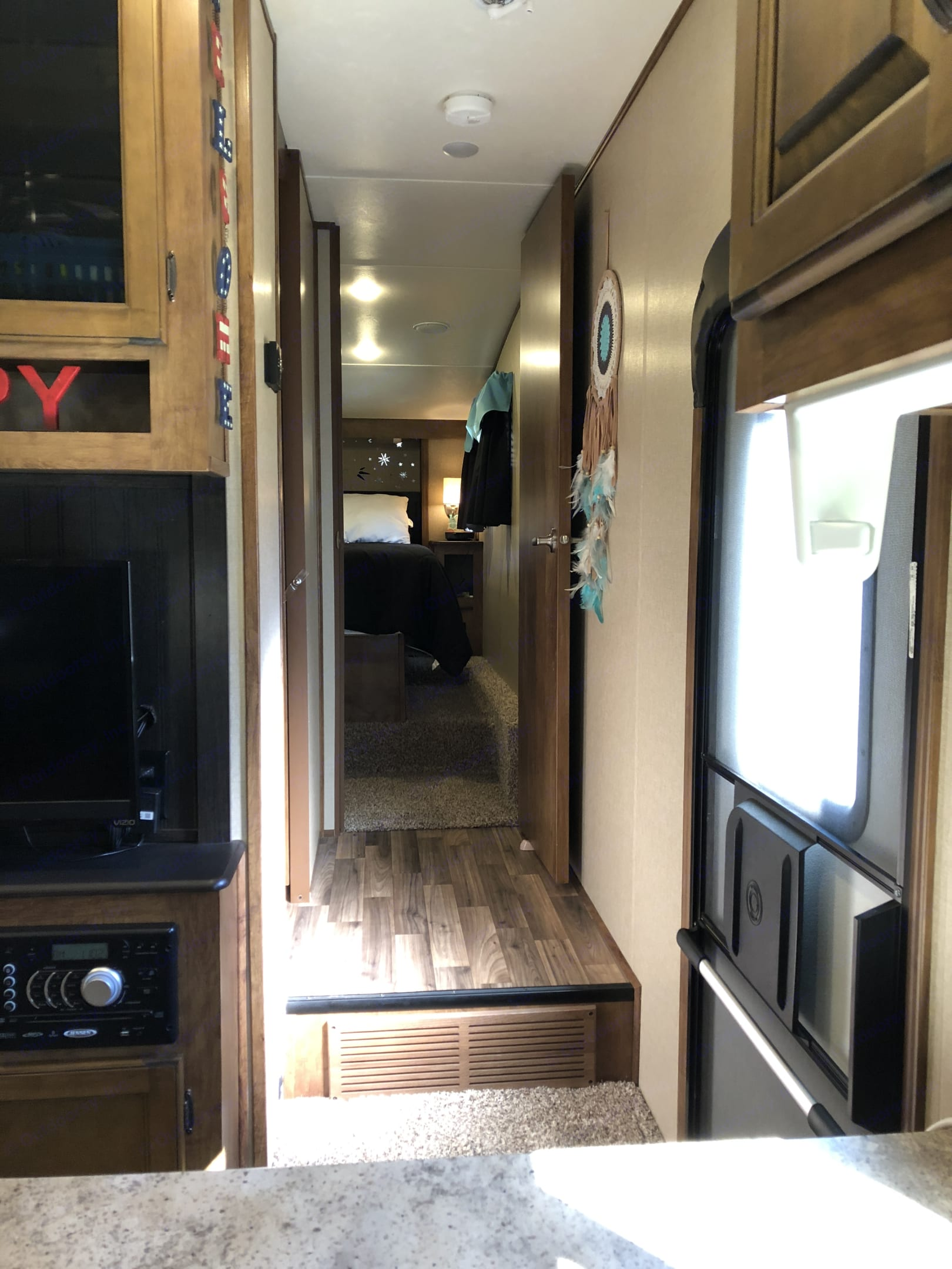 Short hallway to bath and master bedroom with 2nd A/C unit.. Coachmen Chaparral 2016