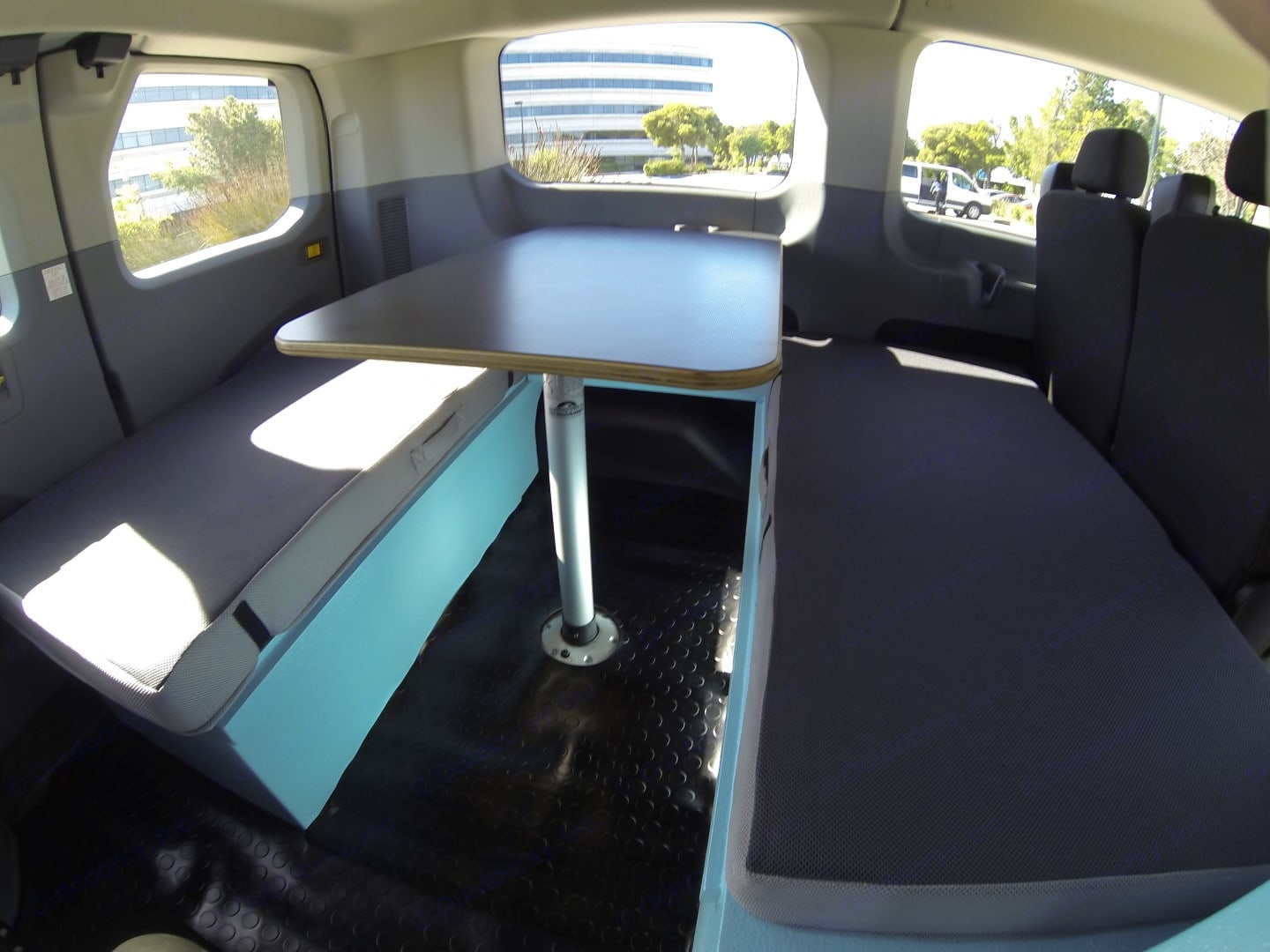 The dinette is perfect for eating, playing cards, reading, and more! It easily converts to a queen-sized bed inside when you're ready for shuteye.. Ford Van 2016