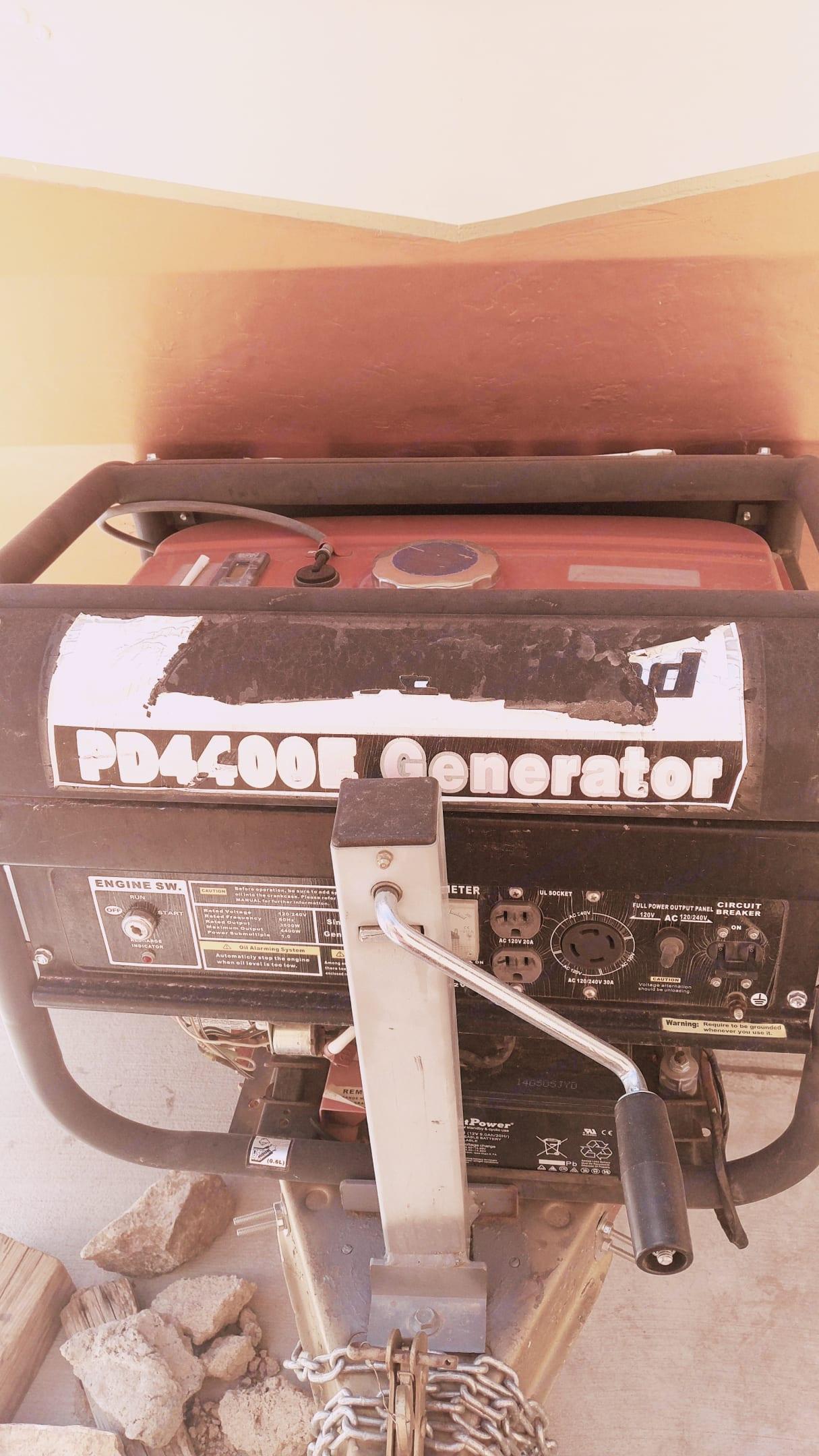 Front view w/4400kw generator . Shasta Airflyte 1959