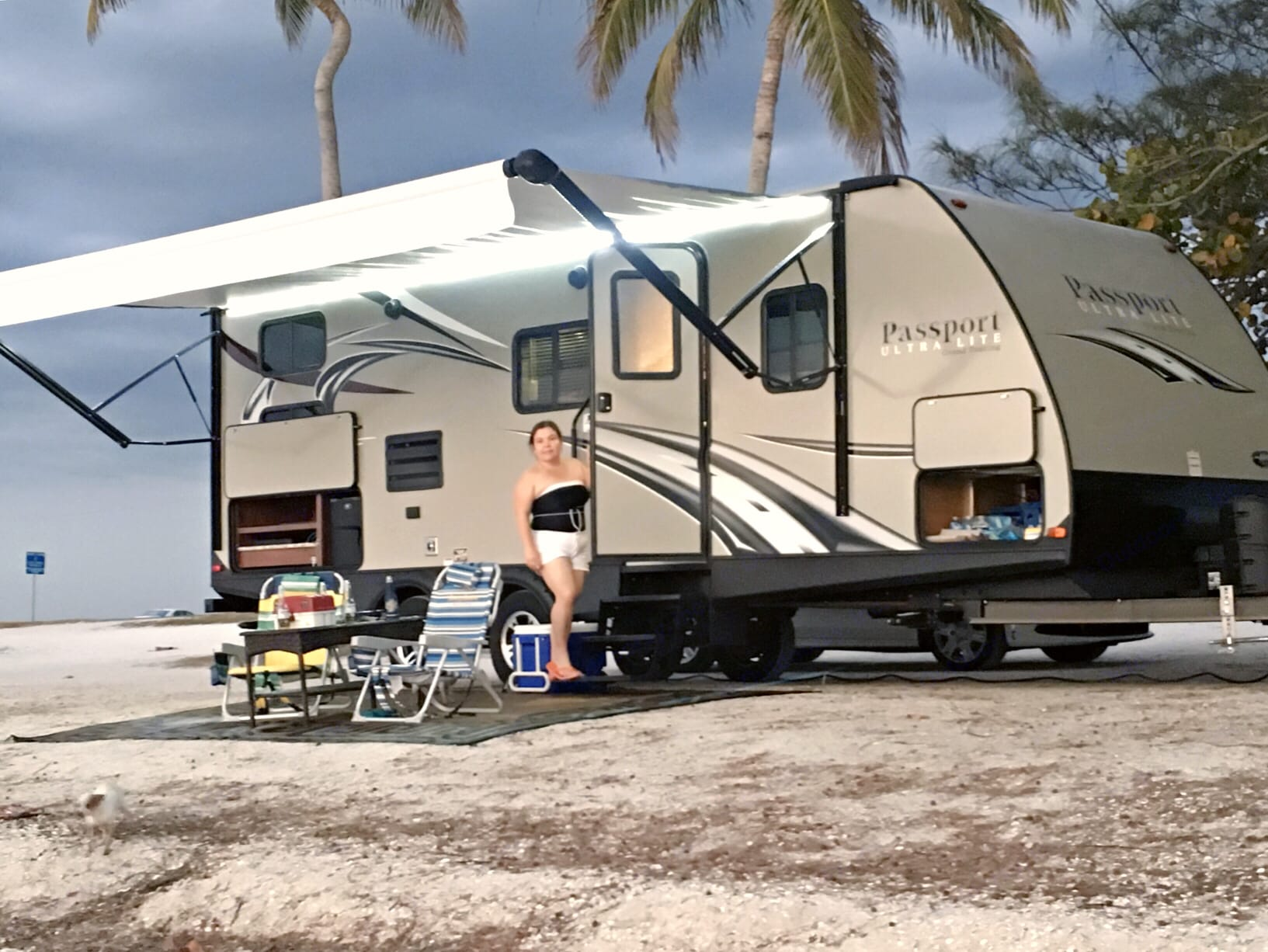 trailer comes with a nice rug or carpet for outside. It has an outside kitchen,  outside shower. . Keystone Passport 2017