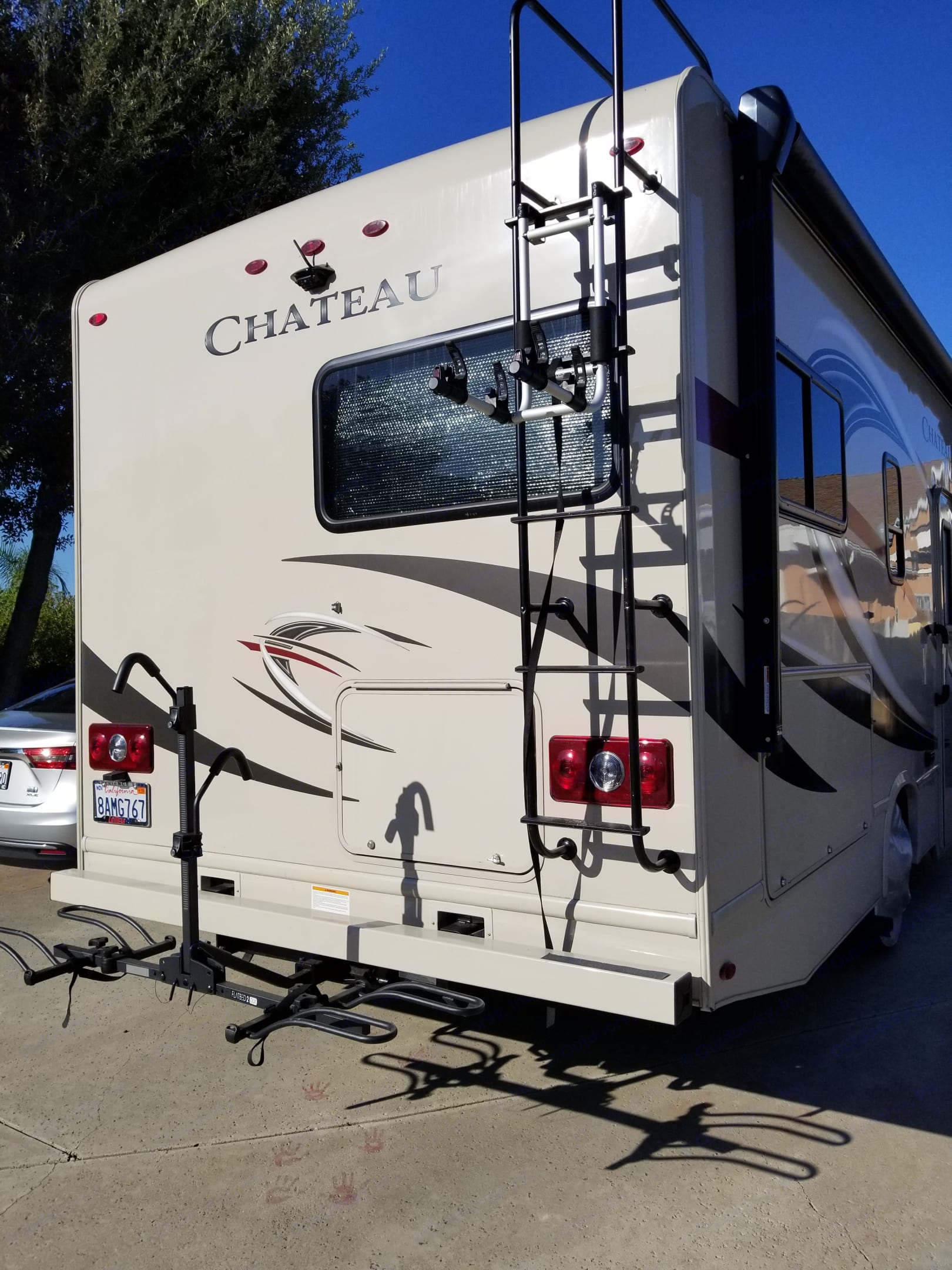 Free options for the two bike racks - one for flatbed bike rack holding up to two adult bikes and one ladder bike rack to hold smaller bike (i.e kid bike). I can install the bike racks upon your request.  Have fun bike riding wherever you go :). Thor Motor Coach Chateau 2018
