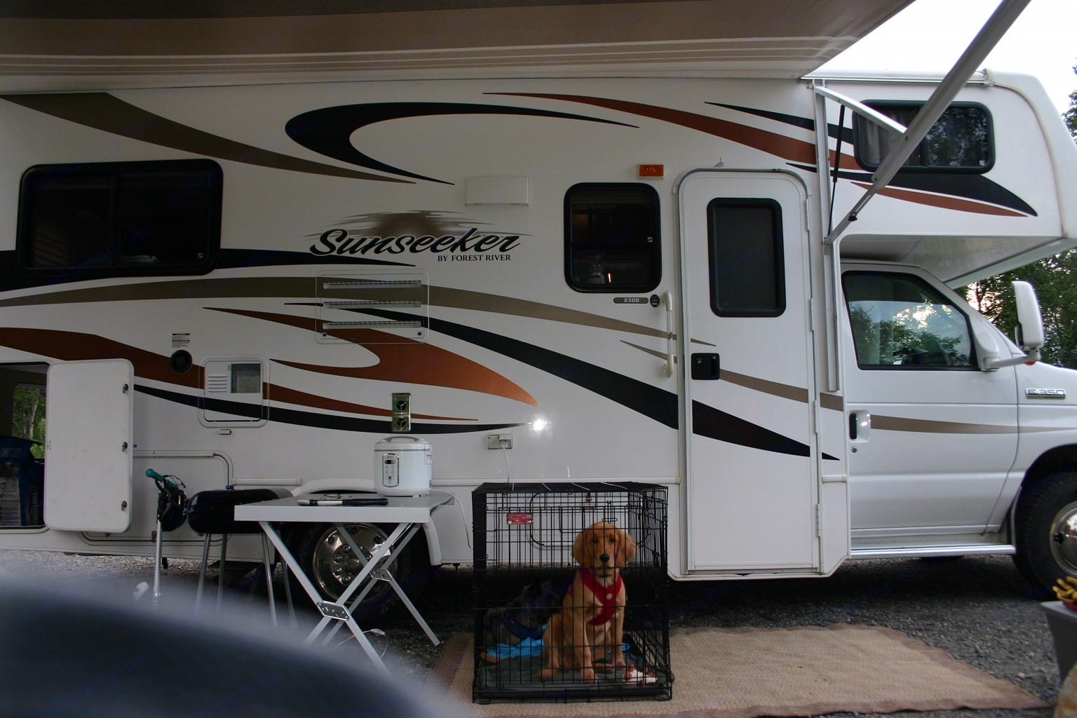 Huge awning to provide rain coverage or a shady spot to cool down!. Forest River Sunseeker 2012