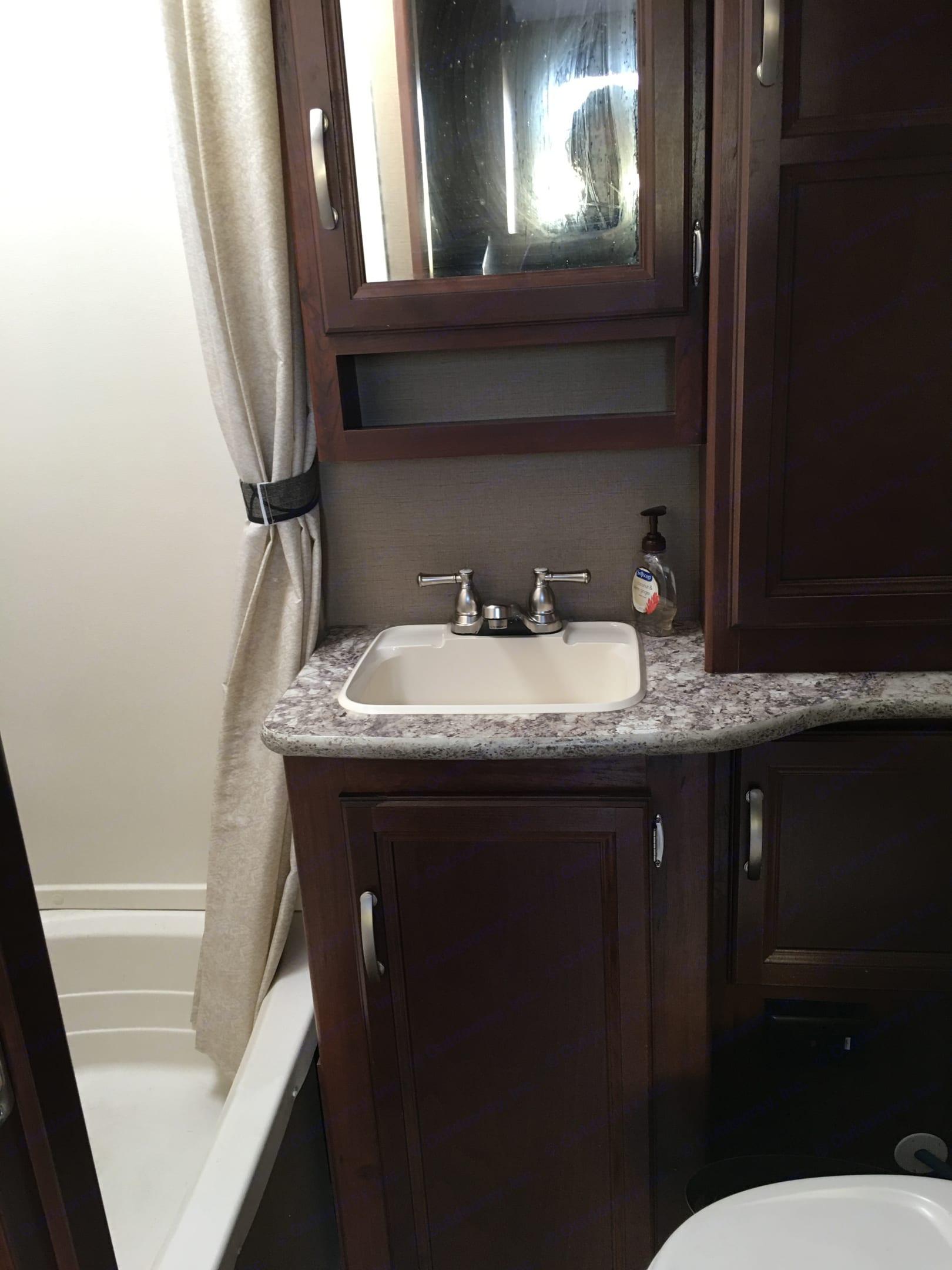 Bathroom has shower/tub and toilet. . Keystone Outback Terrain 2015