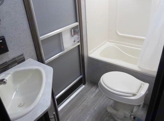 Toilet, shower, sink are convenient to save late night washroom hikes!. Forest River Cherokee Grey Wolf 2016