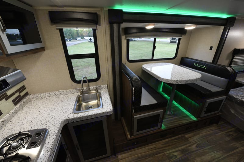 Slide out dinette/drop down bed with green LED backlight.. Travel Lite Other 2018