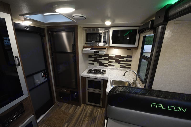 Two burner stove (no oven), microwave, and separate fridge/freezer with plenty of room for perishables. . Travel Lite Other 2018