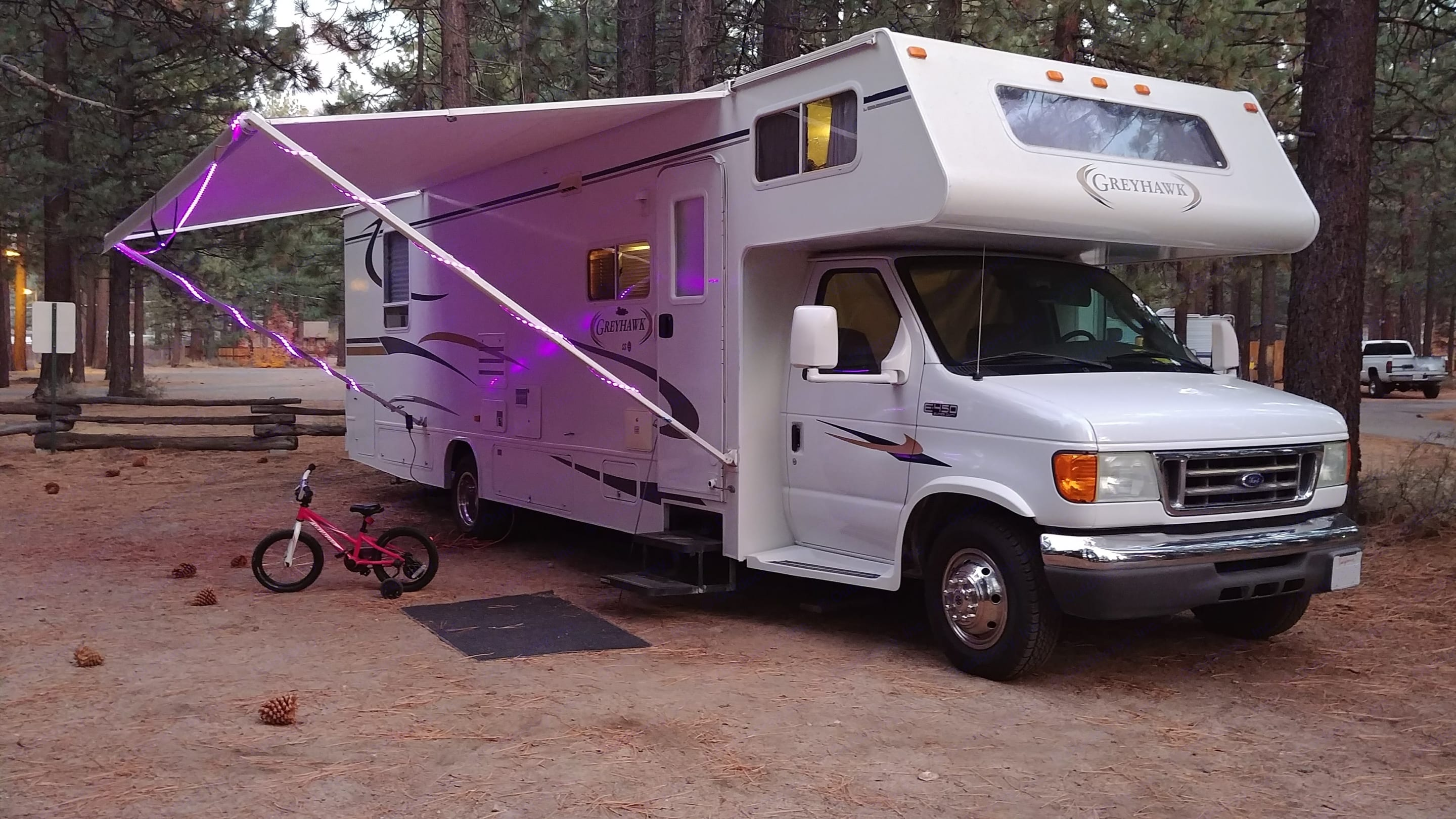 Bike not included. Our daughter wouldn't like that much :) Outside LED lights come with the camper though!. Jayco Greyhawk 2005