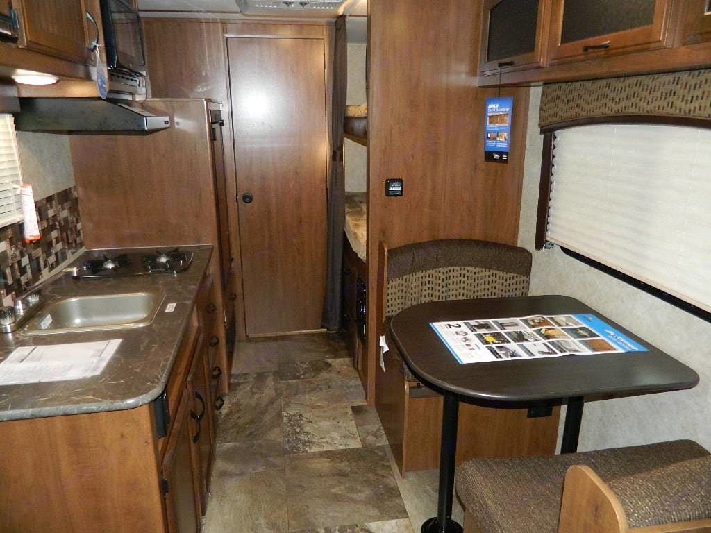 Bunk bends, kitchen, bathroom, dining area. Jayco Jay Feather 2016