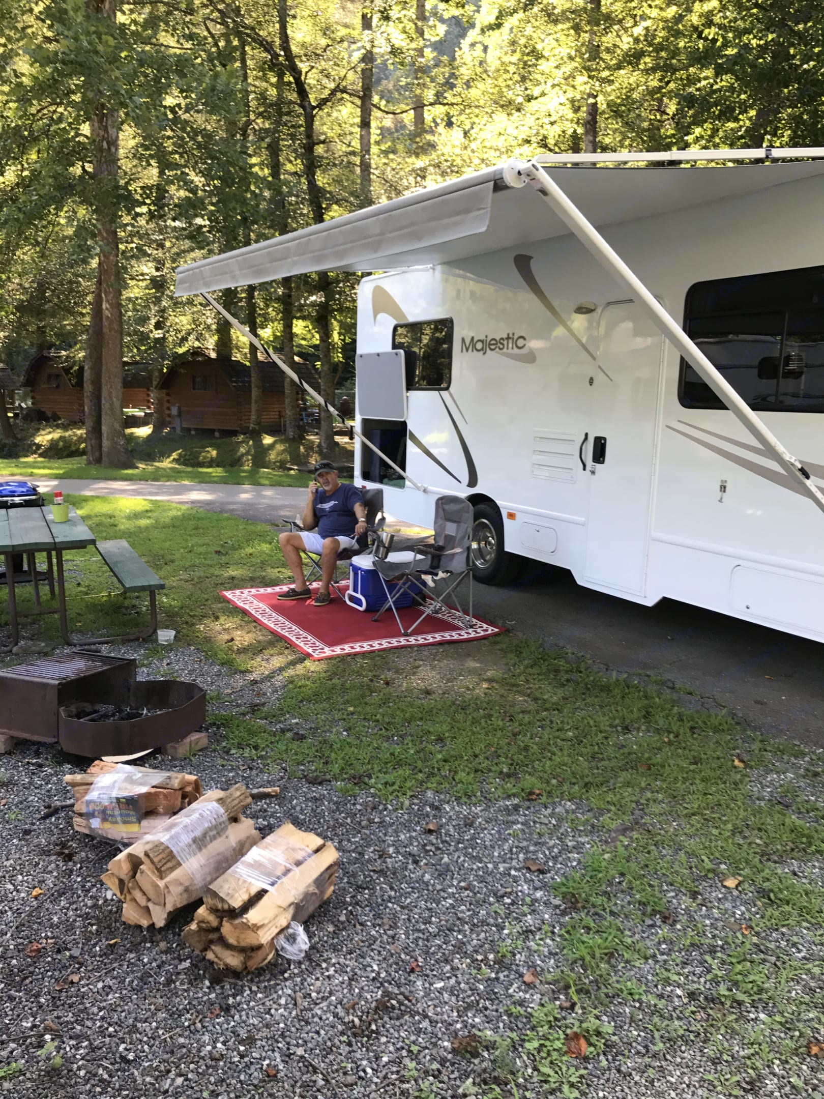 Large Awning allows you to sit outside with plenty of shade, and out of the rain!. Thor Motor Coach Four Winds Majestic 2013