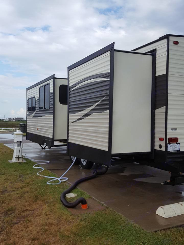 Two slide outs. Parked in Galveston Texas right on the beach!. Prime Time Avenger 2017