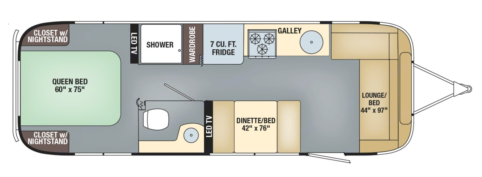 Interior Floorplan. Airstream Flying Cloud 2012