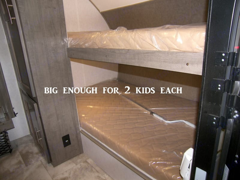 """Bunk beds are wider than Twin, but not quite Full. 42"""" x 74"""". Forest River R-Pod 176 2018"""