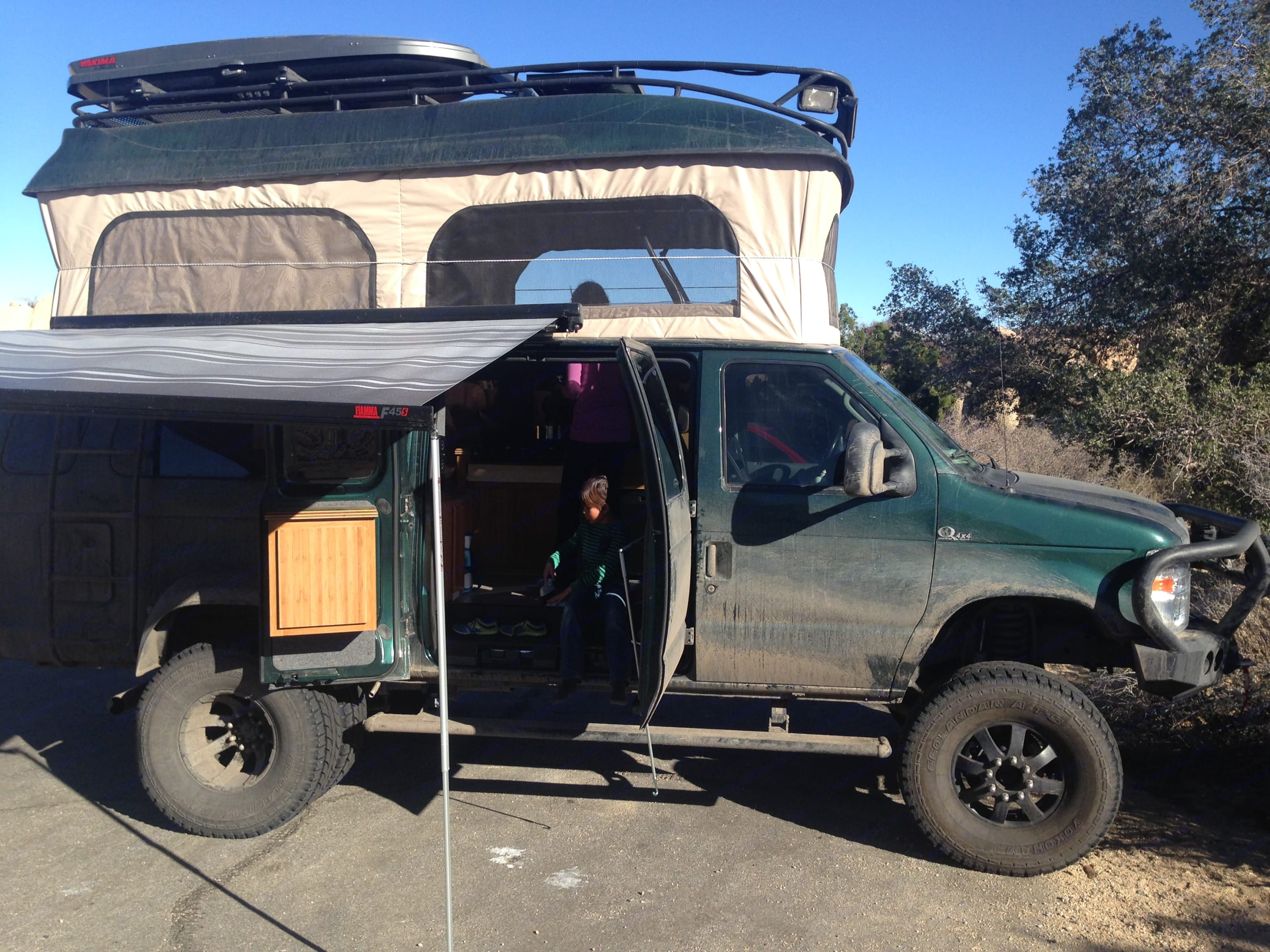 Fully extended topper and awning.. Ford E350 Custom Off-road Conversion 2010