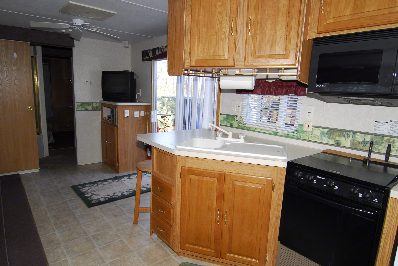 Nice size kitchen, loads of cabinets.  Big full size fridge.. Forest River 38bhds 2004