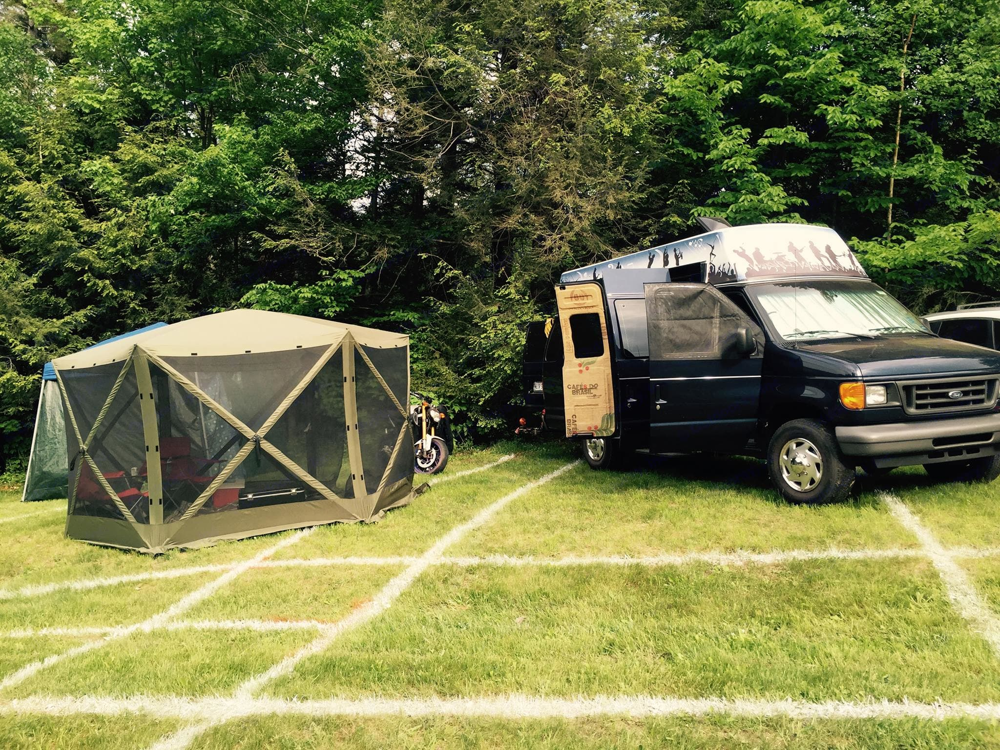 This is at our annual trip to the Mountain Jam Festival in upstate NY. Ford Econolline 250s 2006
