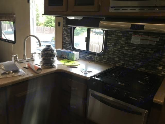 Kitchen view. Fully equipped kitchen minus food and beverages!. Forest River Wildwood 2016