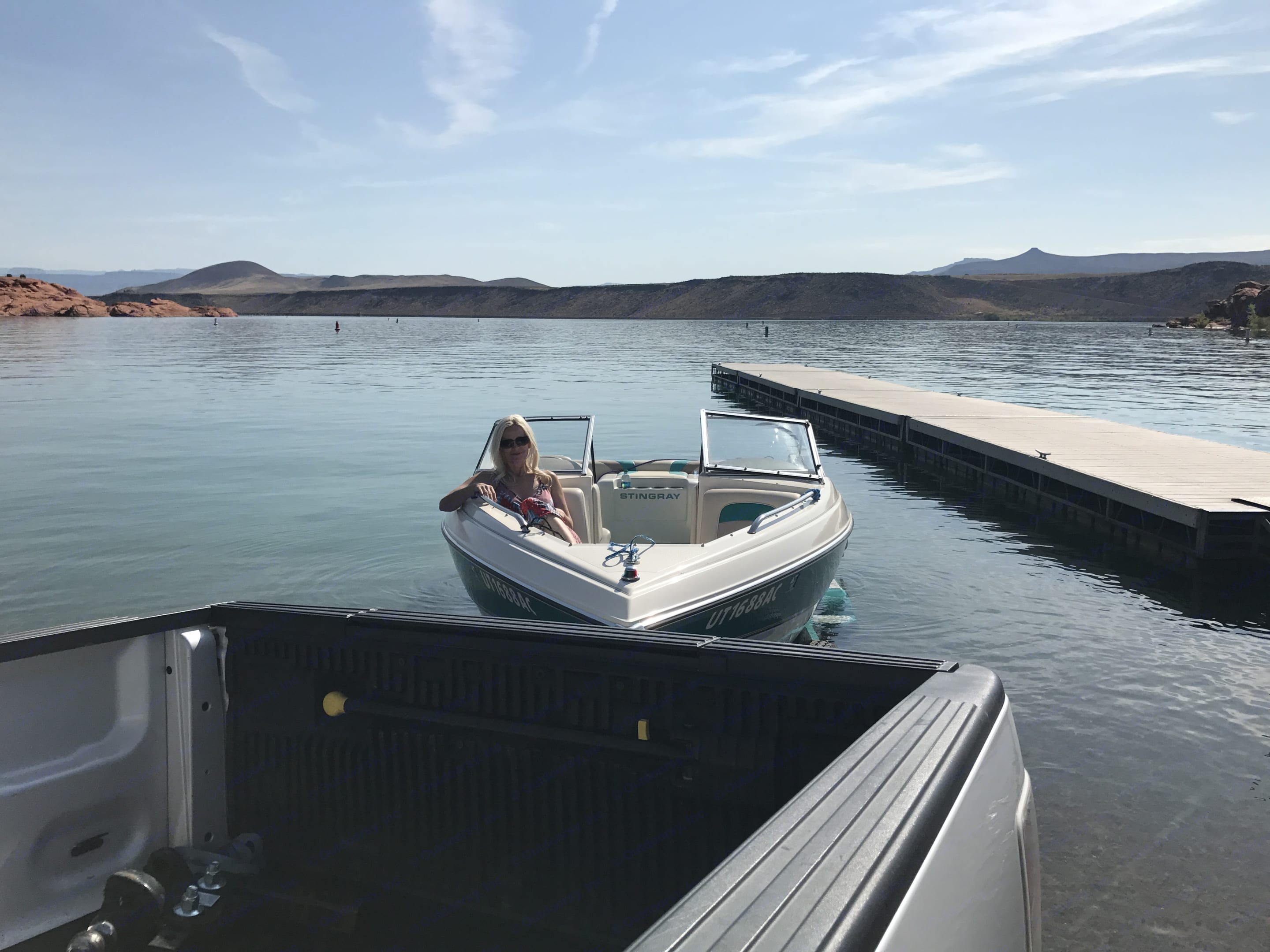 Sand Hollow Boat launch site and boat.  Southern Utah.. Dutchmen Classic 2010
