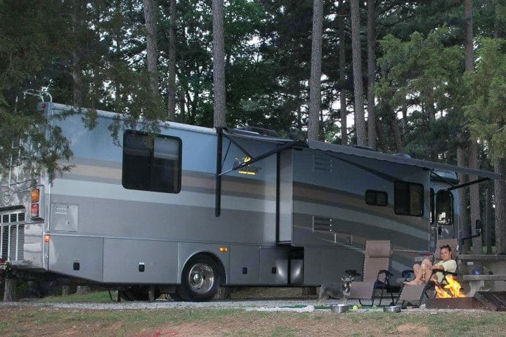 In the woods in gorgeous South Carolina State parks. Fleetwood Bounder 2006