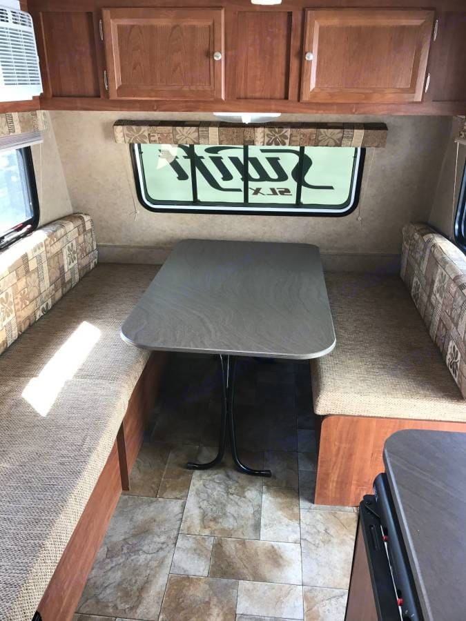 Convertible dinner table into queen bed.. Jayco Jay Flight Swift 2013