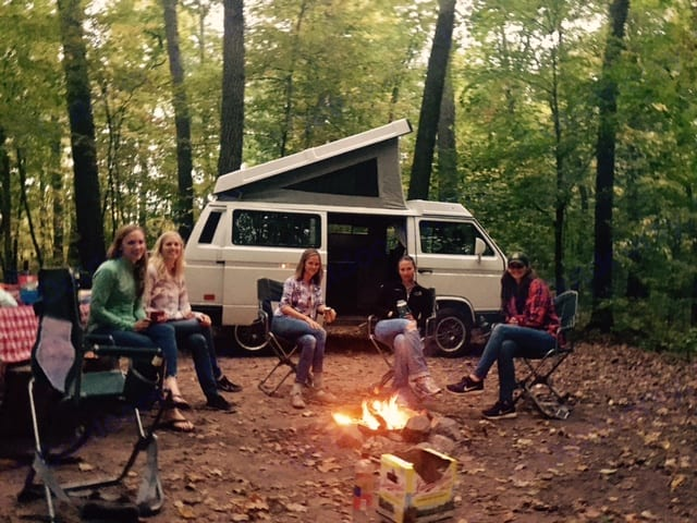 Six girls went camping. One set of girls had a VanGo camper and the other set had a tent. It started down pouring rain. All six girls piled in VanGo and played cards and shared memories for the remainder of the night.. Volkswagen Vanagon 1987