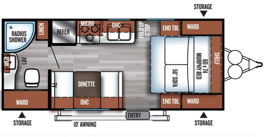 The murphy's bed layout allows a living room setup during the day with the convenient fold down for the night.  . Forest River Salem Cruise Lite 2017