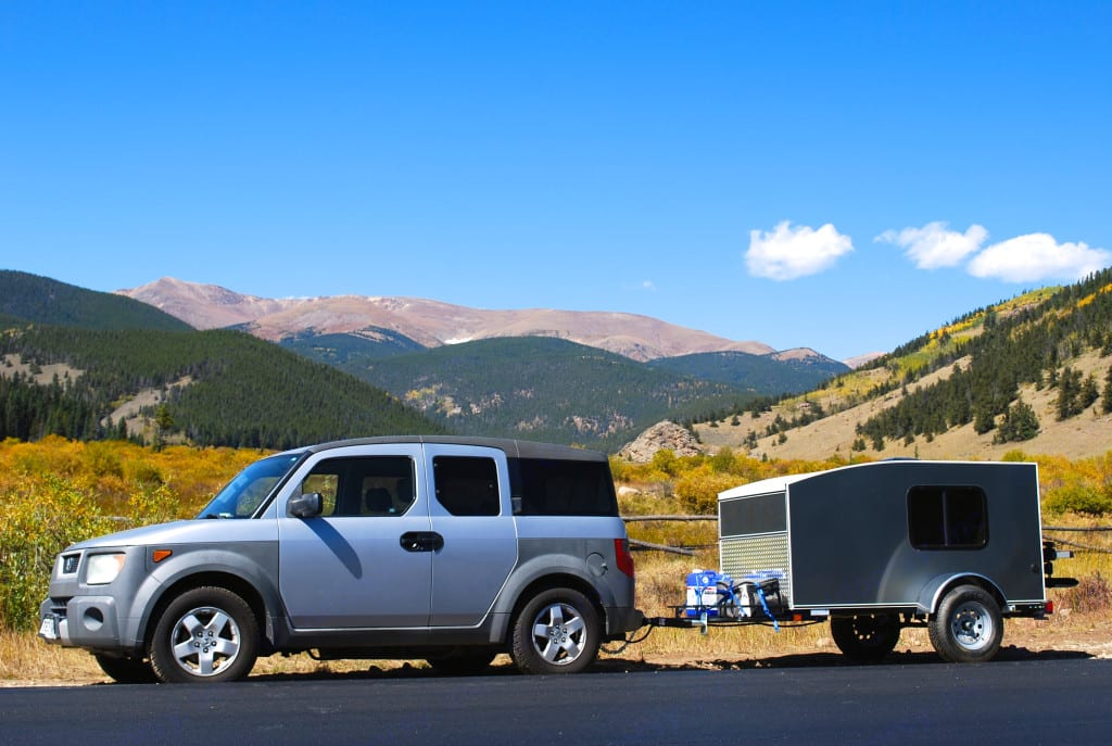 Almost any vehicle can tow this camper, which weighs approx 850 loaded.. hiker Deluxe 2016