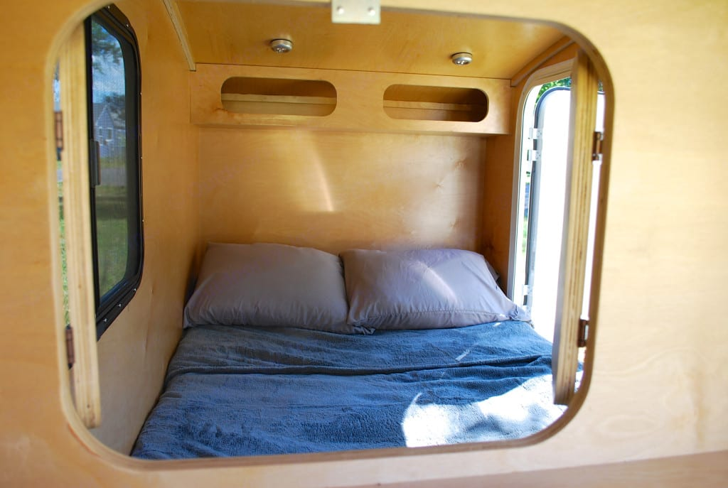 Interior cabin is cozy, and memory foam mattress is approx size of full size bed.. hiker Deluxe 2016