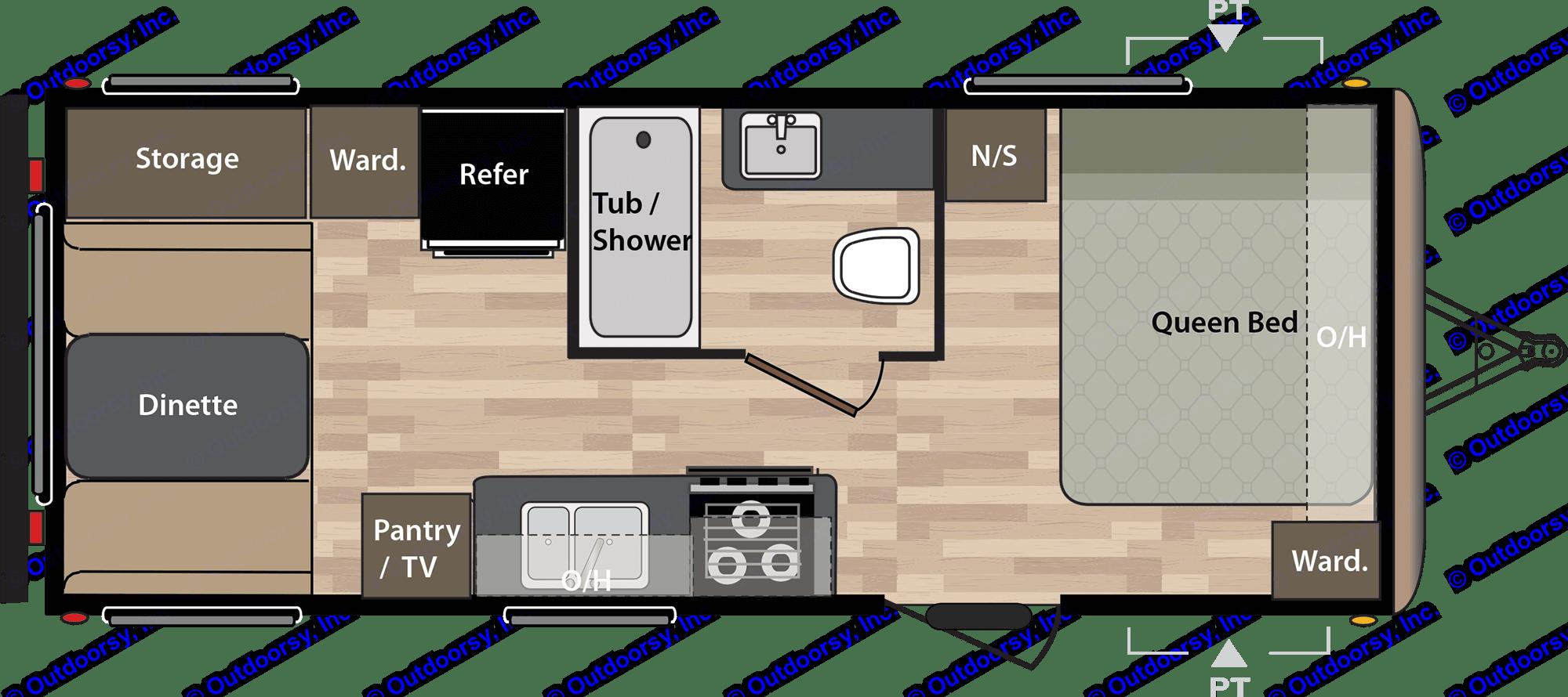 Floorplan of Harvey the RV. Springdale 179 QBWE 2018