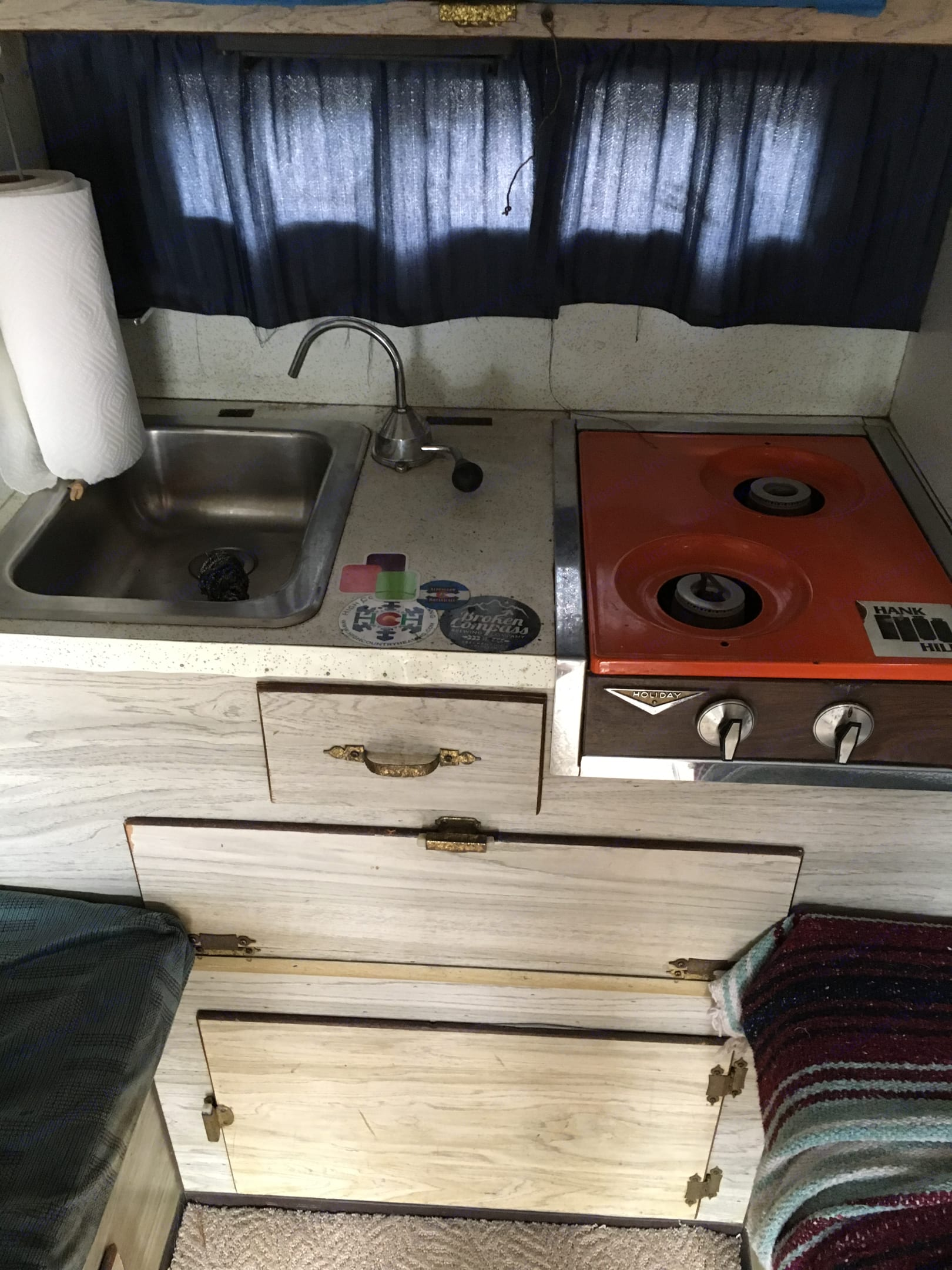 2 burner stove with kitchen sink . mitchell slide in 1997