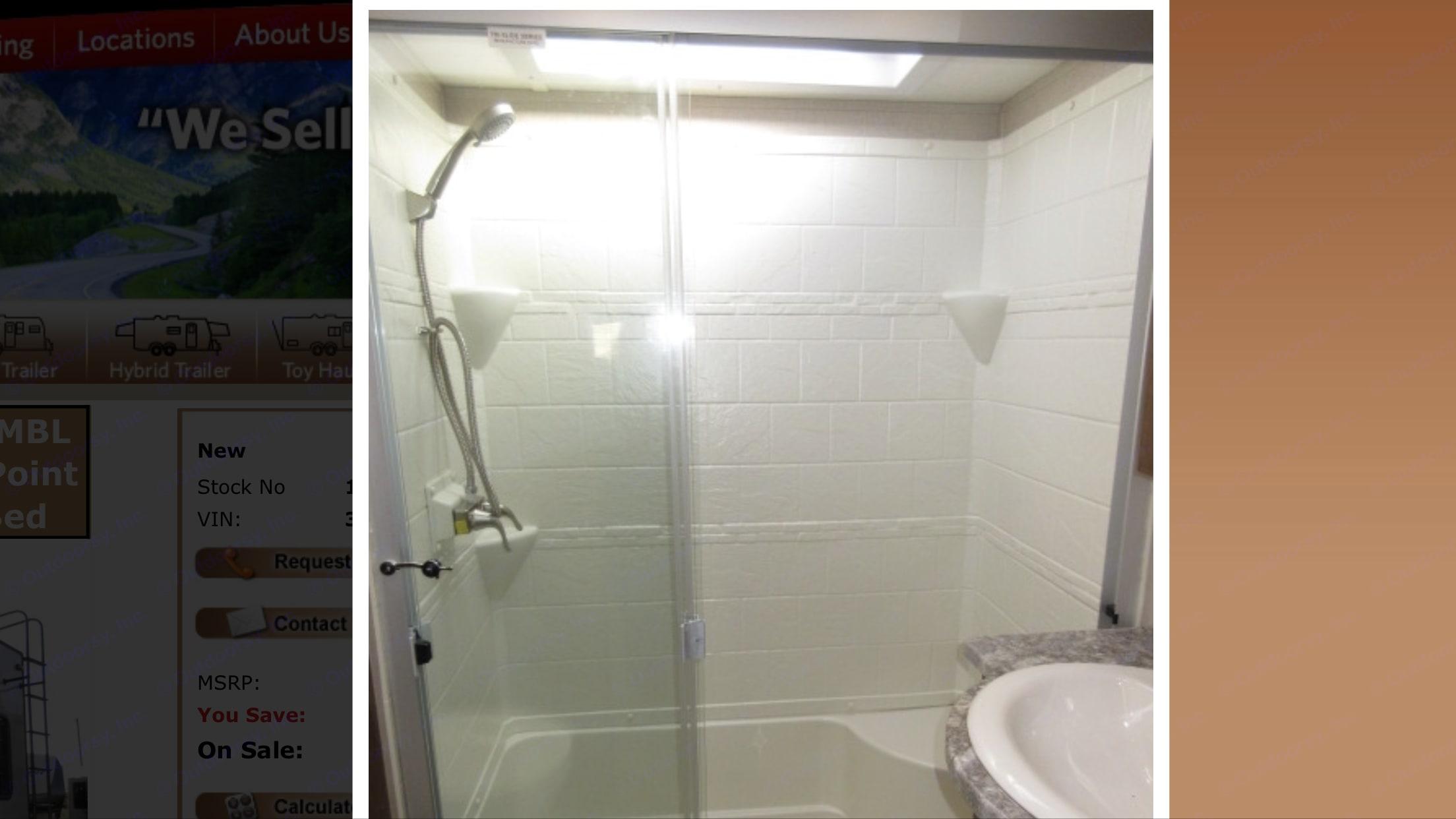 Full size shower w/glass doors. Coachmen Chaparral 2019